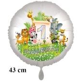 Luftballon Zahl 1 zum 1. Geburtstag, 43 cm, Dschungel mit Wildtieren