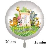 Luftballon Zahl 1 zum 1. Geburtstag, 70 cm, Dschungel mit Wildtieren