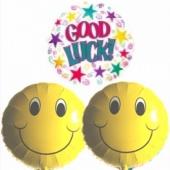 Good Luck Luftballon mit 2 Smiley Luftballons, inklusive Ballongas-Helium
