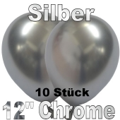 Luftballons in Chrome Silber 30 cm, 10 Stück