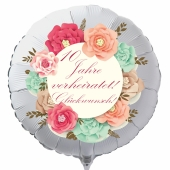 10 Jahre verheiratet! Glückwunsch! Luftballon aus Folie zur Rosenhochzeit
