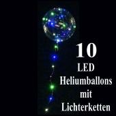 10 LED Heliumballons mit Lichterketten