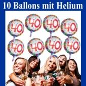 10 Luftballons, Zahl 40 zum 40. Geburtstag mit Helium zum Versand auf die Geburtstagsparty