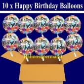 10 Geburtstags-Luftballons, Happy Birthday Balloons, Holografische Ballons mit Helium
