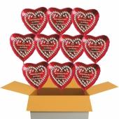 10 rote Herzluftballons aus Folie: Zur Rosenhochzeit herzlichste Glückwünsche!