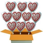 10 weiße Herzluftballons aus Folie: Zur Rosenhochzeit in Liebe!