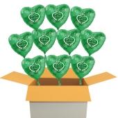 10 grüne Herzluftballons aus Folie, Alles Gute zur Petersilienhochzeit
