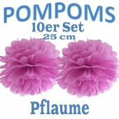 Pompoms Pflaume, 25 cm, 10 Stück