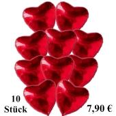 10 Herzluftballons in Rot zum Valentinstag
