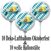 10 Stück Deko Luftballons Oktoberfest mit Ballonstäben