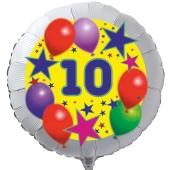 Luftballon aus Folie zum 10. Geburtstag, weisser Rundballon, Sterne und Luftballons, inklusive Ballongas