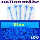 Ballonstäbe Blau, 100 Stück, Halter für Luftballons 2-teilig