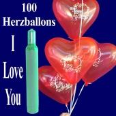 100 Herzluftballons I Love You, Ballons Helium Maxi Set mit Ballongasflasche