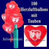 100 Herzluftballons mit Tauben, inklusive Heliumflasche