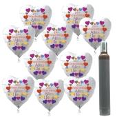 """100 Herzluftballons """"Zum Valentinstag Alles Liebe"""" mit 10 Liter Ballongas-Helium"""