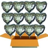 12 Herzluftballons aus Folie in Silber, Tauben, Herzen und Schleifen, Zahl 25, zur Silbernen Hochzeit inklusive Helium Ballongas
