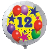 Luftballon aus Folie zum 12. Geburtstag, weisser Rundballon, Sterne und Luftballons, inklusive Ballongas