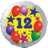 Sterne und Ballons 12, Luftballon aus Folie zum 12. Geburtstag, ohne Ballongas