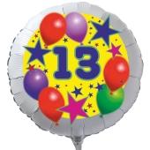 Luftballon aus Folie zum 13. Geburtstag, weisser Rundballon, Sterne und Luftballons, inklusive Ballongas