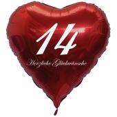 Zum 14. Geburtstag, roter Herzluftballon mit Helium