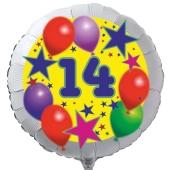 Luftballon aus Folie zum 14. Geburtstag, weisser Rundballon, Sterne und Luftballons, inklusive Ballongas