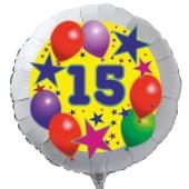 Luftballon aus Folie zum 15. Geburtstag, weisser Rundballon, Sterne und Luftballons, inklusive Ballongas