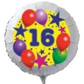 Luftballon aus Folie zum 16. Geburtstag, weisser Rundballon, Sterne und Luftballons, inklusive Ballongas