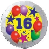 Sterne und Ballons 16, Luftballon aus Folie zum 16. Geburtstag, ohne Ballongas