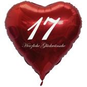 Zum 17. Geburtstag, roter Herzluftballon mit Helium