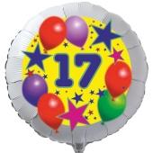 Luftballon aus Folie zum 17. Geburtstag, weisser Rundballon, Sterne und Luftballons, inklusive Ballongas