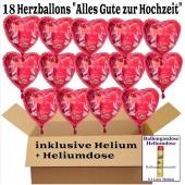 18 Hochzeitsballons, Luftballons zur Hochzeit, rote Herzballons mit Trauringen, Hochzeitstaube und Schwänen, Alles Gute zur Hochzeit, inklusive Ballongas Helium + Heliumdose