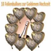 18 Folienballons Herzen zur Goldenen Hochzeit inklusive Helium