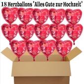 18 Hochzeitsballons, Luftballons zur Hochzeit, rote Herzballons mit Trauringen, Hochzeitstaube und Schwänen, Alles Gute zur Hochzeit, inklusive Ballongas Helium