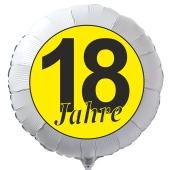 """Luftballon aus Folie zum 18. Geburtstag, weisser Rundballon, """"18 Jahre"""" in Schwarz-Gelb, inklusive Ballongas"""