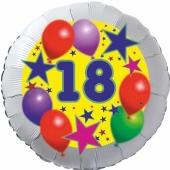 Sterne und Ballons 18, Luftballon aus Folie zum 18. Geburtstag, ohne Ballongas