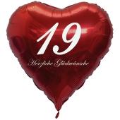 Zum 19. Geburtstag, roter Herzluftballon mit Helium