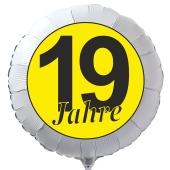 """Luftballon aus Folie zum 19. Geburtstag, weisser Rundballon, """"19 Jahre"""" in Schwarz-Gelb, inklusive Ballongas"""