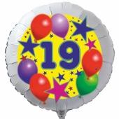 Luftballon aus Folie zum 19. Geburtstag, weisser Rundballon, Sterne und Luftballons, inklusive Ballongas