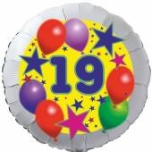 Sterne und Ballons 19, Luftballon aus Folie zum 19. Geburtstag, ohne Ballongas