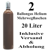 2 Ballongas Helium 20 Liter Mehrwegflaschen