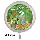 Dinosaurier Luftballon Zahl 2 zum 2. Geburtstag, 43 cm