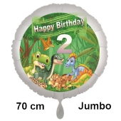 Dinosaurier Luftballon Zahl 2 zum 2. Geburtstag, 70 cm