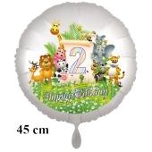 Luftballon Zahl 2 zum 2. Geburtstag, 43 cm, Dschungel mit Wildtieren