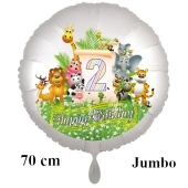 Luftballon Zahl 2 zum 2. Geburtstag, 70 cm, Dschungel mit Wildtieren