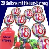 20 Heliumballons Zahl 18 zum 18. Geburtstag, Luftballons aus Folie mit dem Helium-Einwegbehälter