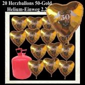 20 Herzballons 50 Gold mit dem 2,2 Liter Helium-Einwegbehälter, Dekoration Goldene Hochzeit