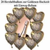 20 Herzluftballon s zur Goldenen Hochzeit mit Helium Einweg