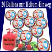 20 Luftballons aus Folie, Zahl 30, mit Helium-Einweg zum 30. Geburtstag