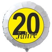 """Luftballon aus Folie zum 20. Geburtstag, weisser Rundballon, """"20 Jahre"""" in Schwarz-Gelb, inklusive Ballongas"""