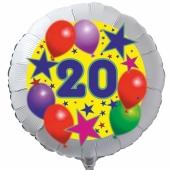 Luftballon aus Folie zum 20. Geburtstag, weisser Rundballon, Sterne und Luftballons, inklusive Ballongas
